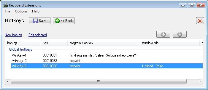 Saleen Software - KeyboardExt / Manual topic: Hotkeys